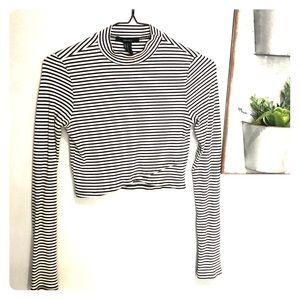 Striped long sleeve crop top